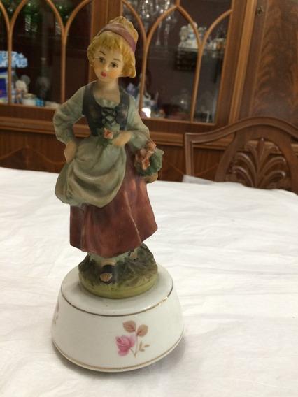 Figura Musical Antigua Porcelana Tipo Capodimonte Mujer