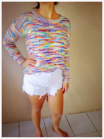 Suéter Em Tricô Colorido