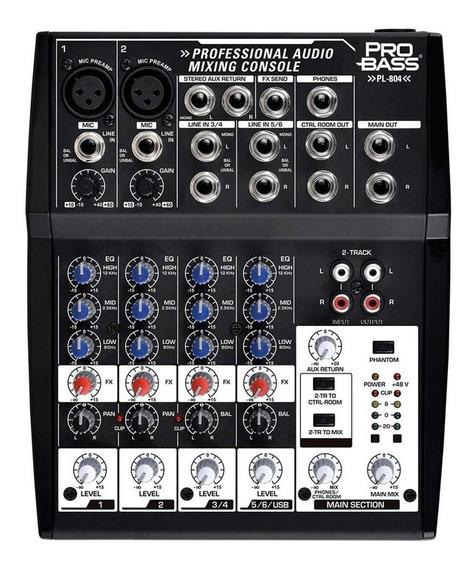 Mixer Mesa De Som 6 Canais Pro Bass Pl-804 Igreja Evento