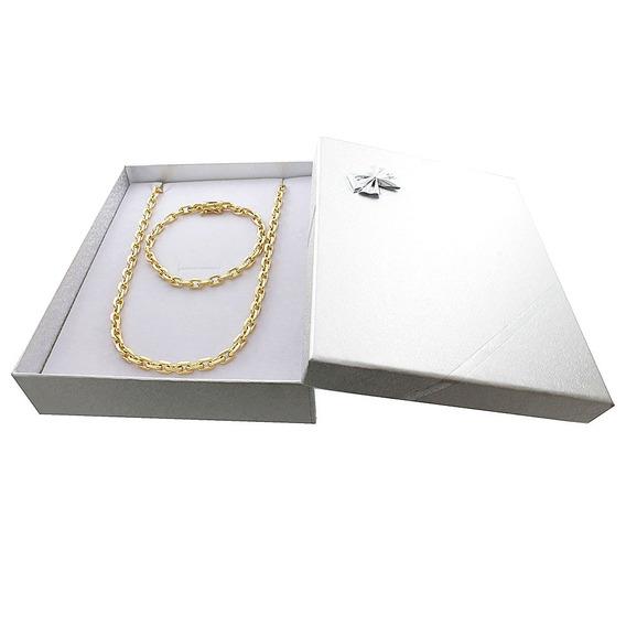 Cordão Banhado A Ouro 18k + Pulseira + Box + Garantia 1 Ano