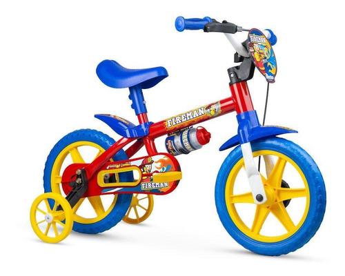 Bicicleta Infantil Aro 12 Nathor Fireman Com Rodinhas