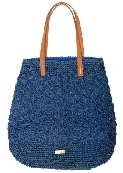 Cantão Bolsa Grande Tote Palha Crochet Azul Nova Com Tag
