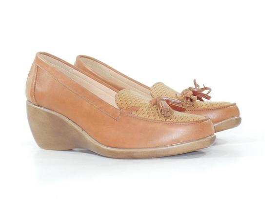 Zapato Mujer Taco Chino, Cuero Charol, Con Flecos