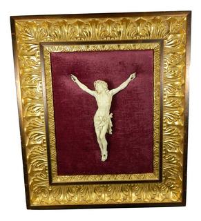 Antigua Talla Cristo Labrado Francés Marco Madera Dorado