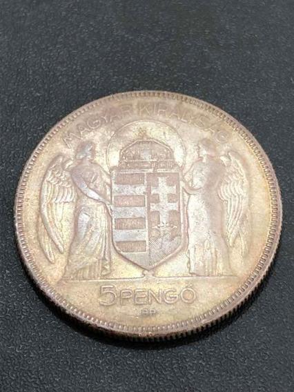 Moeda Antiga 1930 Hungria 5 Pengo Prata