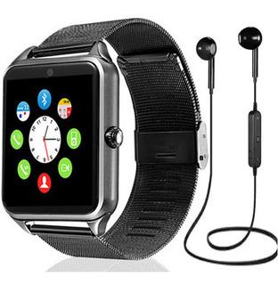 Relógio Inteligente Smartwatch Z60 + Fone Metal Bluetooth Câmera Celular Chip Passos Touch Anti Perda Mp3 Mp4 Ligações