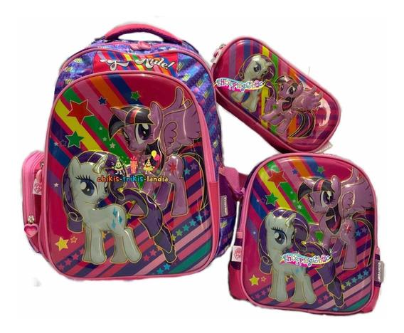 My Little Pony Kit Mochila Primaria Original Lonchera Lapice