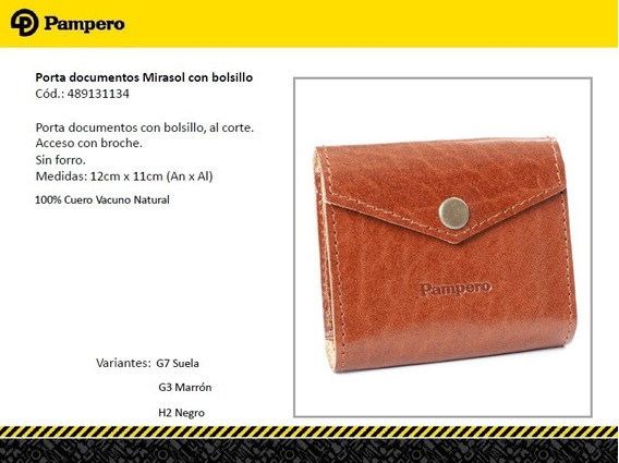 Porta Documentos De Cuero Con Broche Pampero