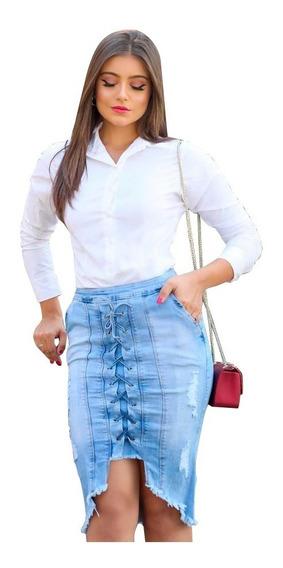 Saia Jeans Feminina Midi- Moda Feminina Estilosa