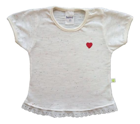 Camiseta Bata Bebê Menina Com Renda 100% Algodão Verão