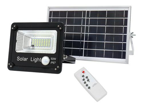 Imagen 1 de 10 de Reflector Led Panel Solar 50w Control Remoto Sensor