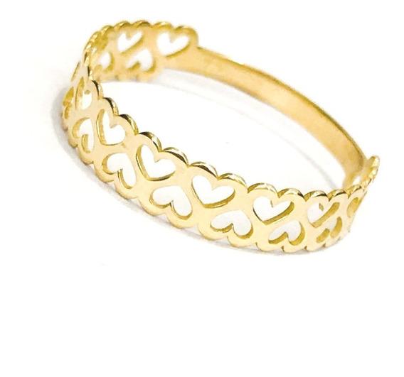 Anel Coração Duplo Ouro 18k Noivado Namorado Debutante