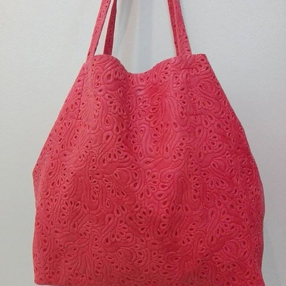 Carteras De Cuero, Maxi Bolsos! Color Rojo Floreada
