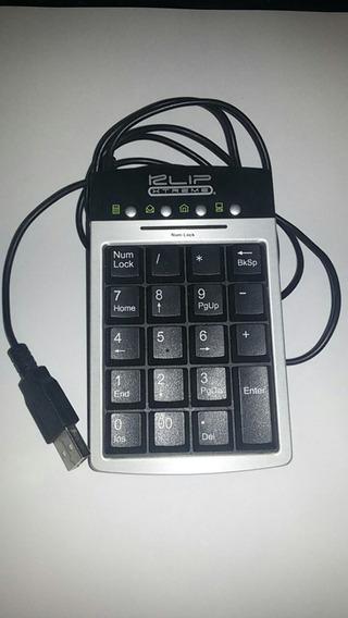 Teclado Calculadora Klip Con Cable Y Con Tres Puertos Usb