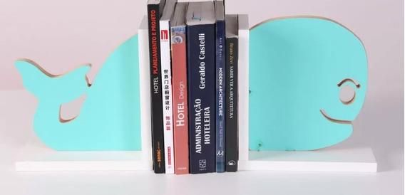Porta Livros Baleia Em Mdf Melaminico 15mm 40x21 Cm...