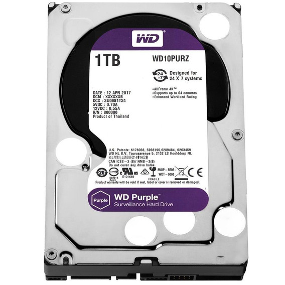 Hd Wd Sata 3,5 Purple 1tb Dvr Surveillance Intellipower 64mb