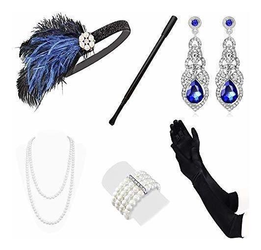 Lukovee 1920s Flapper Accesorios Set Disfraz Diadema Collar