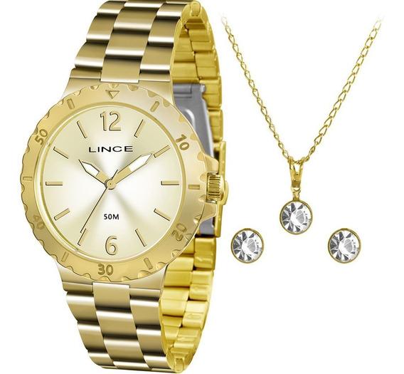 Kit Relógio Lince Feminino Lrgh036l Kt96c2kx Colar E Brincos