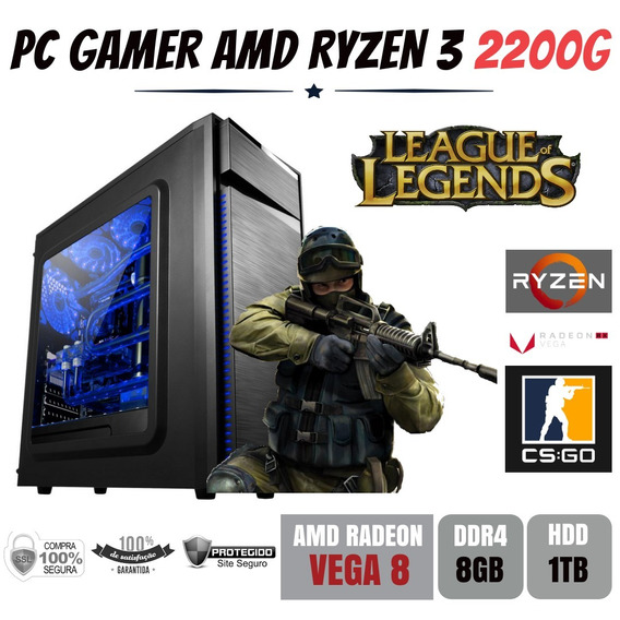 Pc Gamer Amd Ryzen 3 2200g 3.5ghz + 8gb Ddr4 + Hd 1tb Vega 8