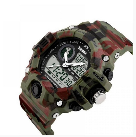 Relógio Masculino Skmei Anadigi 1053 Camuflado Original