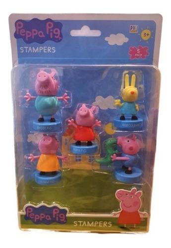 Imagen 1 de 1 de Peppa Pig - Set 5 Timbres Peppa Familia