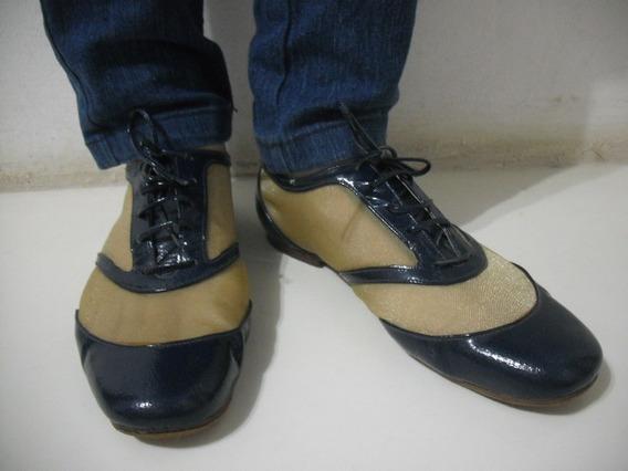 Sapato Social Azul Dourado Telado 36 Luiza Barcelos Bom Esta