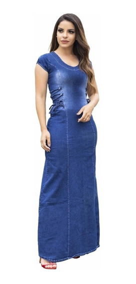 Vestido Jeans Longo | Hilda - Moda Evangélica