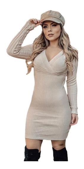 Vestido De Tricô Modal Decote V Colado Roupas Femininas
