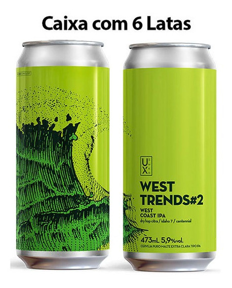 Cerveja Ux Brew West Trends#2 Caixa C/ 6 Latas 473 Ml