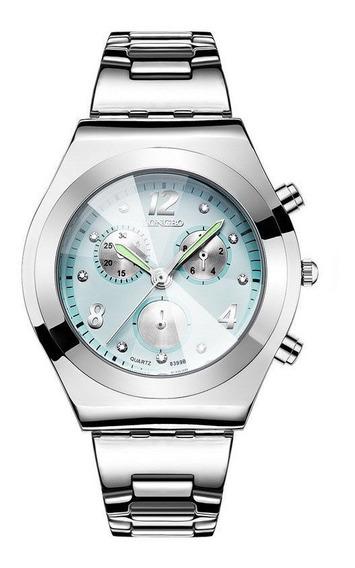Relógio Feminino Longbo Verde + Caixa Metal A Prova D