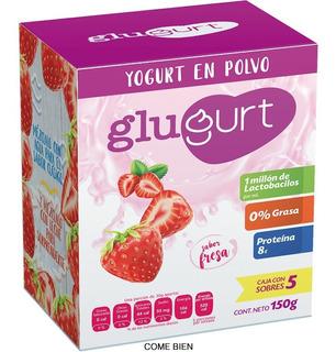 Glugurt Yogurt En Polvo Sabor Fresa Caja Con 5 Pociones