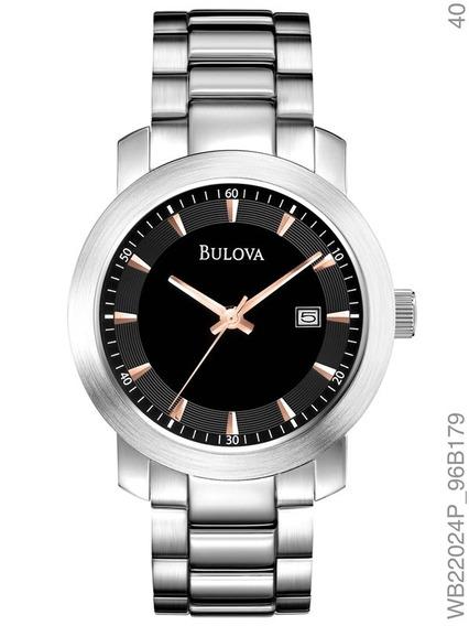 Relógio Bulova Feminino Prata Fundo Preto Wb22024p
