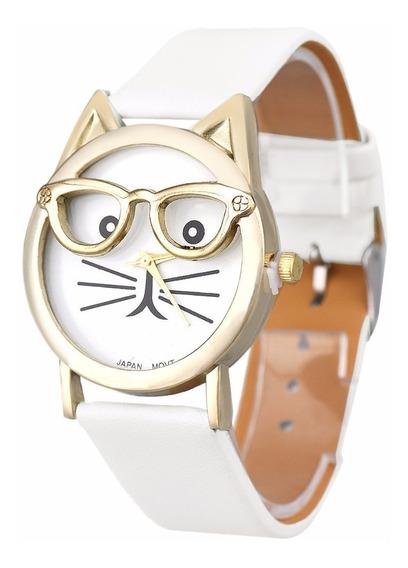Relogio Adulto Infantil Barato Gato Oculos Cor Branca Ad1088