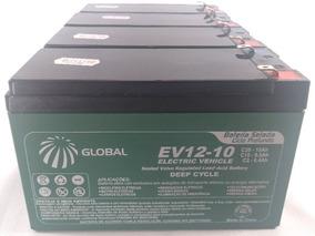 Kit 4 Bateria Gel Global 12v 10ah 48v Scooter Bike Elétrica.