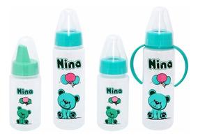Conjunto Kit Bebê Mamadeira Copo Educativo Ursinho Verde