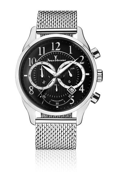 Relógio Pulso Jean Vernier Masculino Pulseira Aço Moderno
