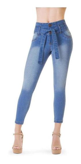 Jeans Dama Azul Devendi Corte Colombiano Cinturon Incluido