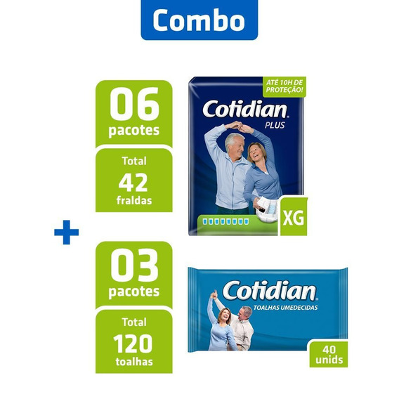 Combo 6 Pacotes Fralda Cotidian Xg + 3 Pcts Toalha Umedecida