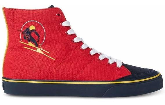 Authentic Polo Ralph Lauren Solomon Ski Patch Sneakers Red 9