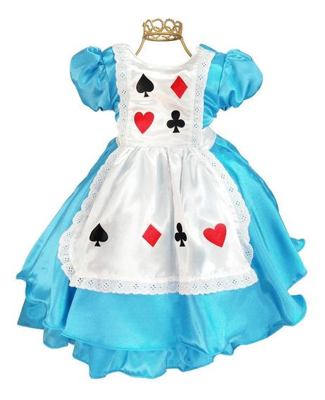Vestido Infantil Alice No País Das Maravilhas Promoção