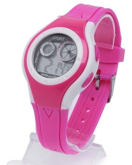 Relógio Infantil Barato Pink E Branco