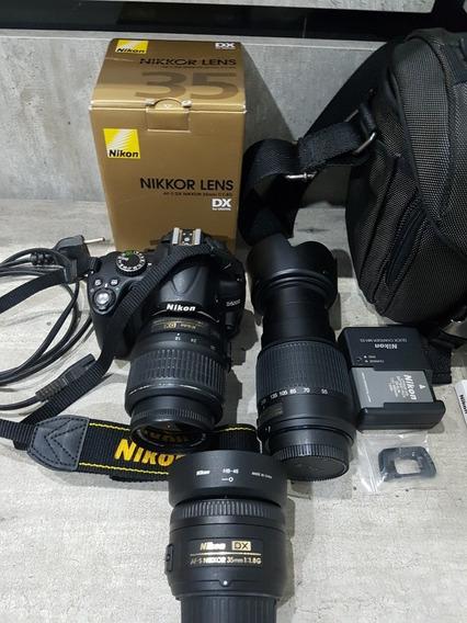 Kit Nikon D5000 35mm 18-55mm 55-200mm