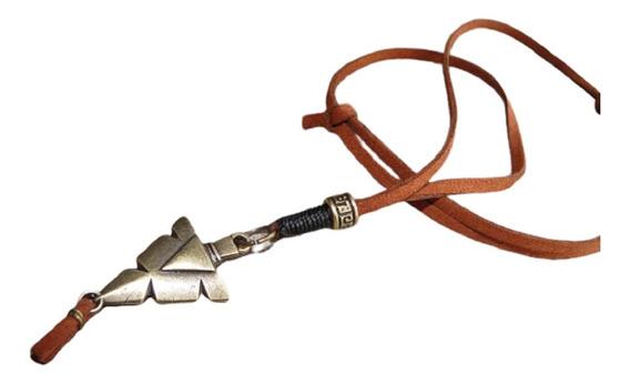 Cordão Masculino Importado Marrom Flecha Bronze Índio Novo