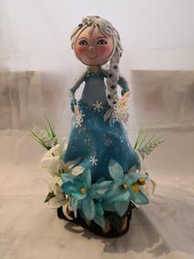 Centro De Mesa Frozen Elsa Con Base De Madera