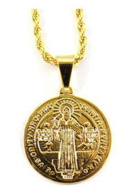 Colar Corrente Entrelaçada Cordão Baiano Medalha Sao Bento
