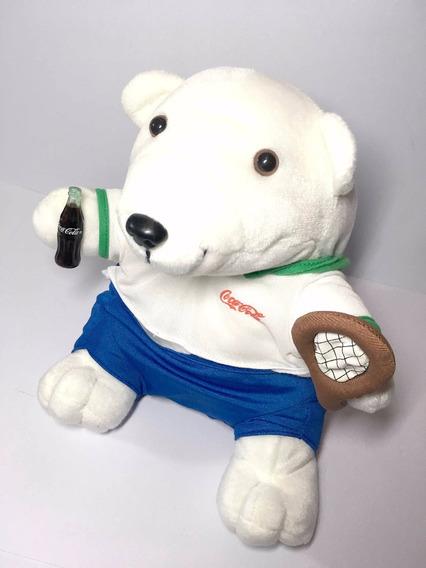 Boneco Pelúcia Urso Polar Jogador Tênis Coleção Coca-cola