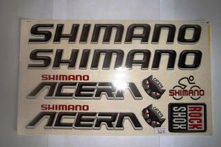 Adesivo Bike Shimano Acera Cat Eye Preto/verm