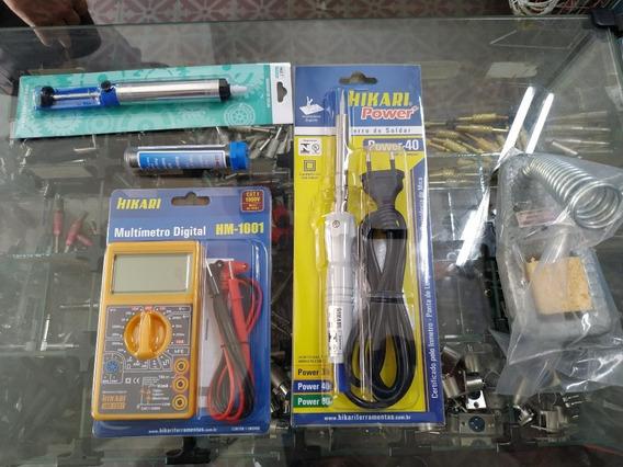 Kit Ferro Hikari 40w 127v + Multimetro Hm1001 Sugador Solda