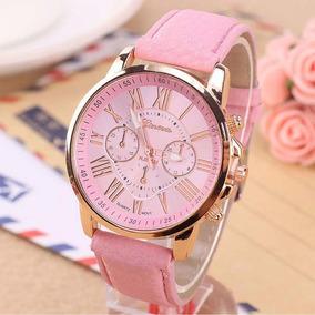 Relógio Feminino Rosa Pulseira Couro Casual Luxo