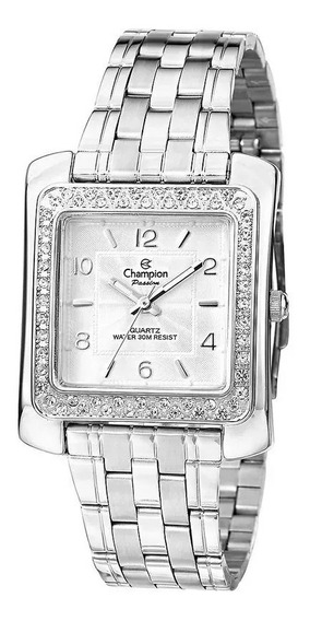 Relógio Feminino Quadrado Prateado Luxo Original Champion